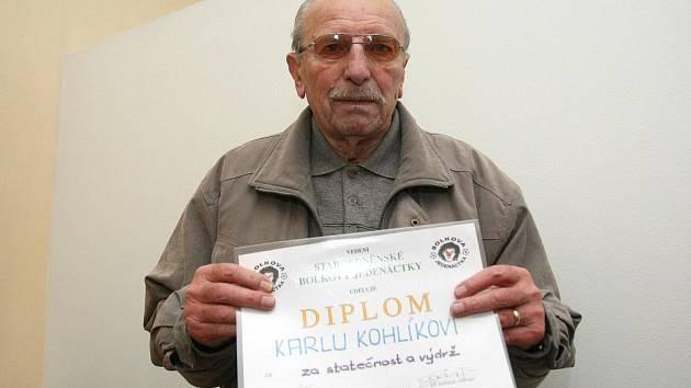 Nejstarší žijící prvoligový brněnský fotbalista Karel Kohlík.