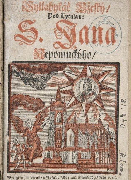 Titulní list Slabikáře vydaného v tiskárně Jakuba Maxmiliána Svobody v Brně roku 1725.