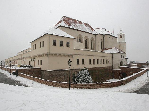 Brněnský Špilberk pod sněhem.