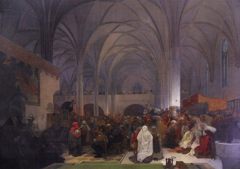 Kázání Mistra Jana Husa v kapli Betlémské, Alfons Mucha.