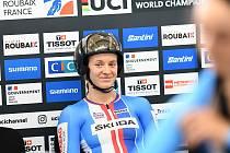 Poslední den světového šampionátu v dráhové cyklistice ve francouzském Roubaix. Na snímku Veronika Jaborníková.