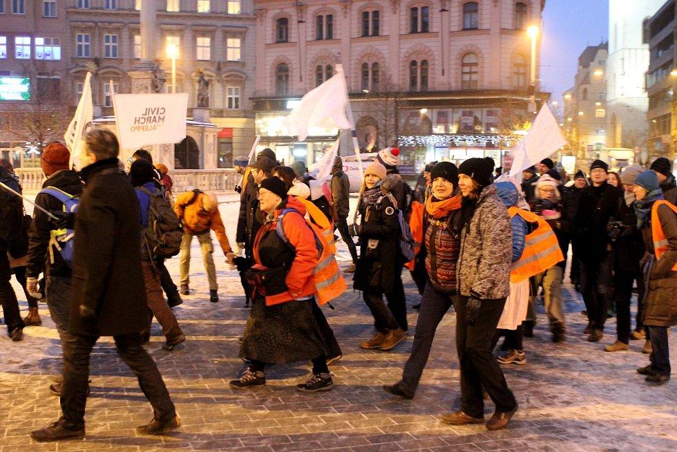 Pochod pro Aleppo v Brně.