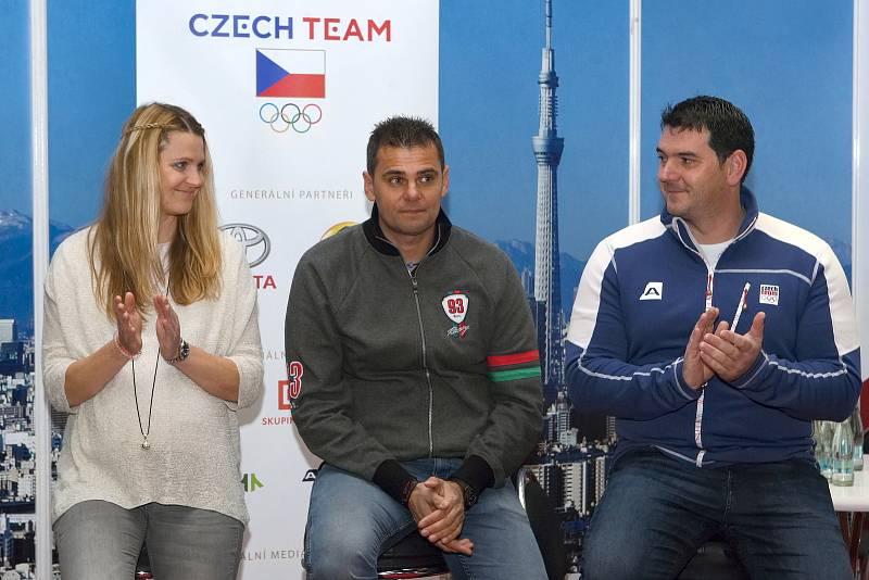 Brno 8.11.2019 - tisková konference k Olympijskému festivalu 2020 - Lucie Šafářová, David Kostelecký a Jiří Lipták