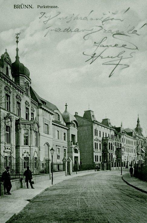 Historický snímek brněnské vily Löw-Beer v ulici Drobného, kdysi Parkstrasse – Sadová.