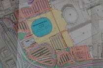 Plány k podobě nové brněnské multifunkční haly a jejího okolí.