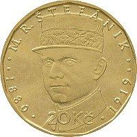 Unikátní dvacetikorunová mince s Milanem Rastislavem Štefánikem.