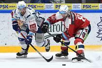 Brno 6. 3. 2020 - domácí Kometa Brno (bílá) proti Dynamu Pardubice (červená)