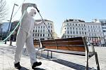 Dezinfekce veřejných prostor v centru Brna na náměstí Svobody.
