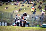 Finálový závod Moto3 Velká cena České republiky, závod mistrovství světa silničních motocyklů v Brně 4. srpna 2019. Na snímku (zleva) Niccolo Antonelli (ITA) a Aron Canet (SPA).