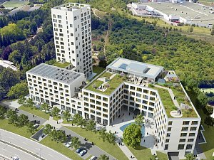 Nové polyfunkční centrum nabídne 72 bytů. Dominovat mu bude šestnáctipatrová věž
