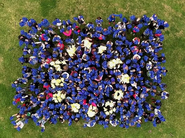 Přes dvě stě padesát lidí vytvořilo v v brněnských Lužánkách živou vlajku Evropské unie.