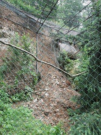 Vytrvalý déšť podmáčel vnoci na středu svah vbrněnské zoo. Půda pak poškodila část expozice orlů.
