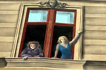 Kreslené postavy se vyklánějí z namalovaných oken domu v Jaselské ulici
