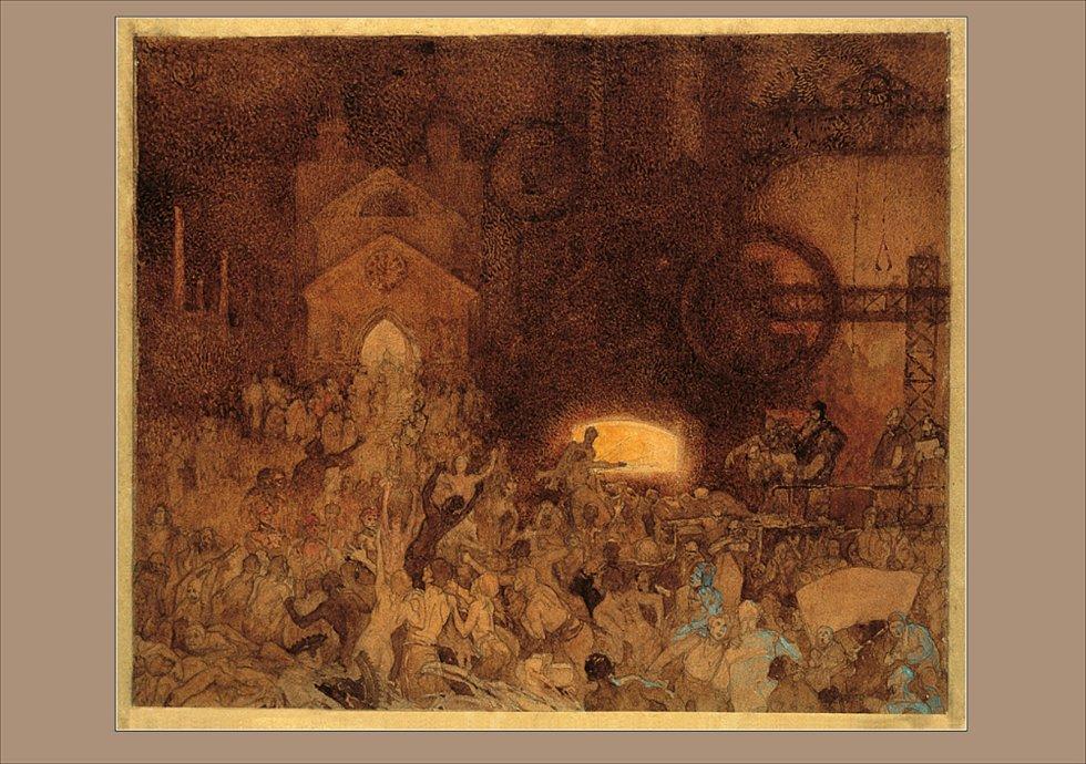 Pohlednice s vyobrazením části triptychu Tři věky: Věk rozumu, v grafické podobě.