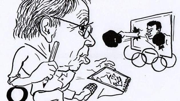 Sportu fandí Emil Hoffmann od dětství. Na karikatuře autor zpodobnil sám sebe při nedávném sledování Letních olympijských her v Londýně.