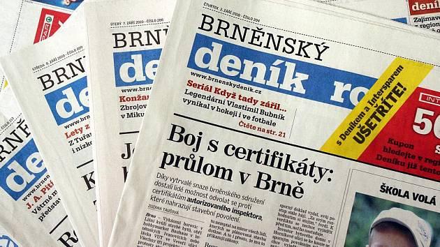 Brněnský deník Rovnost. Ilustrační fotografie.