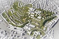 Návrh budoucí podoby zástavby na Žlutém kopci na Starém Brně od architektonického ateliéru P. P. Architects, který se umístil na druhém místě architektonické soutěže.