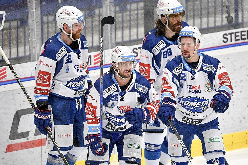 Utkání předkola play off hokejové extraligy - 5. zápas: HC Vítkovice Ridera - HC Kometa Brno, 16. března 2021 v Ostravě. (střed) Martin Zaťovič z Brna.