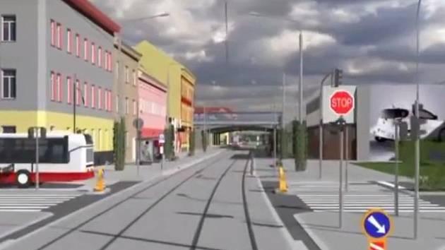 Záběr z náhledové animace projektu přeložky tramvaje z brněnské ulice Dornych do ulice Plotní. Ilustrační foto.