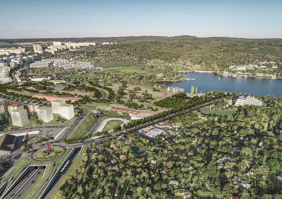 Nadhledová vizualizace přístaviště od Sdružení Pelčák a partner architekti a HBH Projekt.