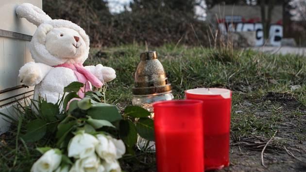 Pietní místo dívky zavražděné v brněnském arboretu.