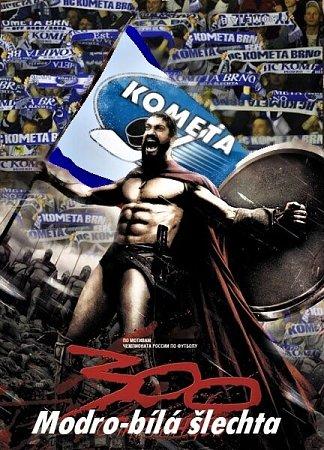 Spartský král Leonidas svlajkami brněnské Komety.
