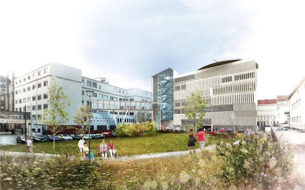 U Úrazové nemocnice v Brně má v budoucnu vyrůst nový pavilon se sedmi operačními sály a heliportem na střeše. Autor: LT PROJEKT a. s.