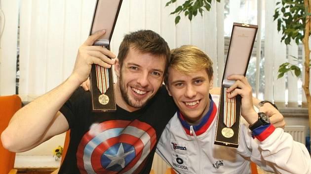 Michal Březina a Ondřej Hotárek si v úterý užívali návratu do rodného města.