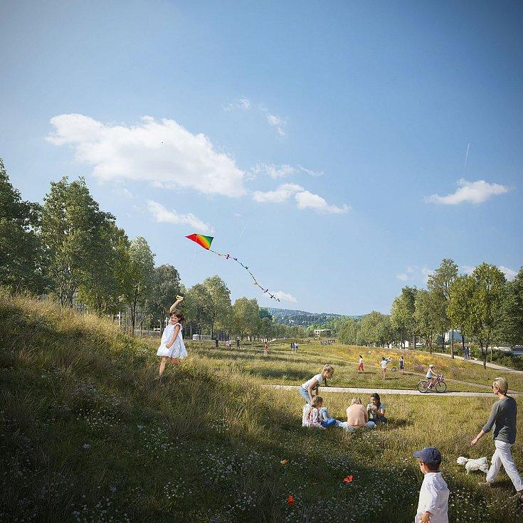 Spojovací park na vizualizaci firmy knesl kynčl architekti a Projektová kancelář Ossendorf.