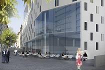 Vizualizace nového parkovacího domu v Panenské ulici.