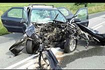 Nehoda dvou aut u Moutnice na Brněnsku.