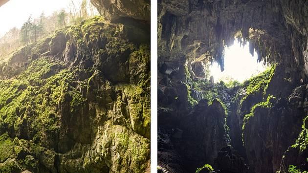 Výhledy z propasti Macocha na Blanensku a z jeskynního dómu Sarawak v Malajsii.