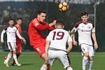 Brno 15.2.2020 - přípravné utkání mezi FC Zbrojovka Brno (Šimon Šumbera) v červeném proti FK Železiarne Podbrezová