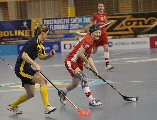 České florbalové reprezentantky v souboji se Švédskem na turnaji Euro Floorball Tour v Brně.