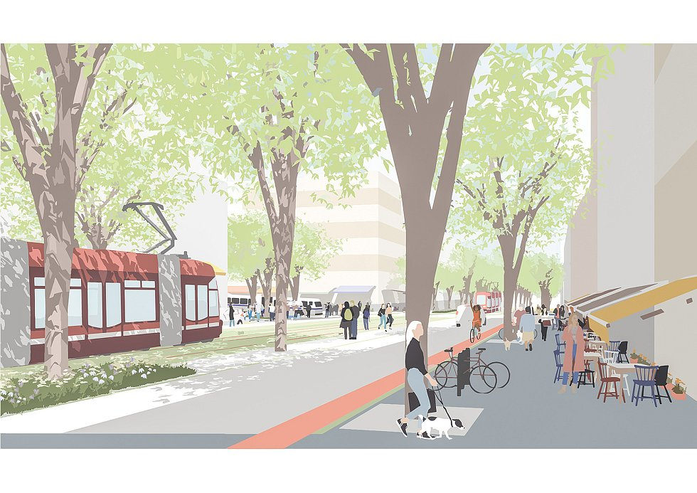Ilustrace nové ulice v brněnské Bystrci od Sdružení Pelčák a partner architekti a HBH Projekt.
