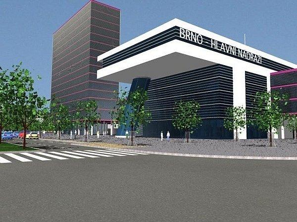 Vizualizace plánovaného vchodu do nového hlavního vlakového nádraží v Brně z roku 2008.