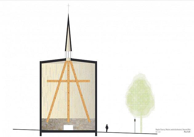 Vizualizace podoby nové kaple vNesvačilce.