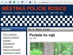 Print screen webu rosických strážníků těsně před tím, než stránka přestala existovat.