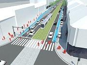Vizualizace Štefánikovy ulice po rekonstrukci.
