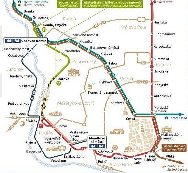 Mapa změn v městské hromadné dopravě v Brně při výluce v Žabovřeské ulici.