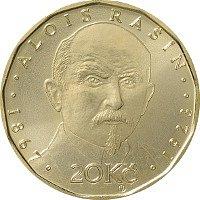 Jedna ze tří nových dvacetikorun vydaných ke stému výročí měnové odluky od Rakousko-Uherska. Nese portrét prvního ministra financí Aloise Rašína