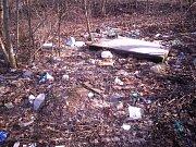 Na Červeném kopci před zahrádkářskou kolonií je odpadu tolik, že tvoří skládku.