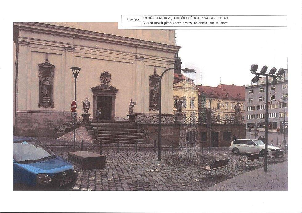 Třetí nejlepší návrh architektonické soutěže na vodní prvky na Dominikánském náměstí. Vizualizace vodního prvku před kostelem svatého Michala.