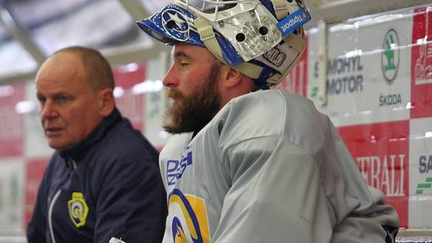 První trénink hokejového brankáře Marka Čiliaka ve Zlíně.
