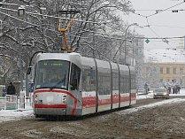 Sníh v brněnských ulicích.