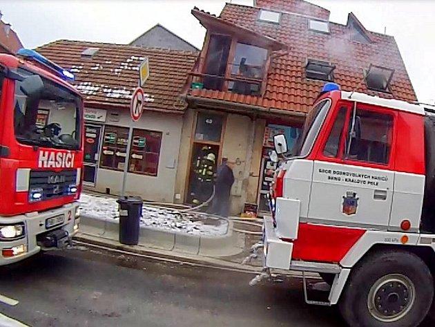 Požár v brněnském Králově Poli.