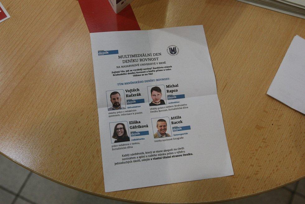 Brněnský deník Rovnost na Multimediálním dni 2018 na Fakultě sociálních studií MU v Brně