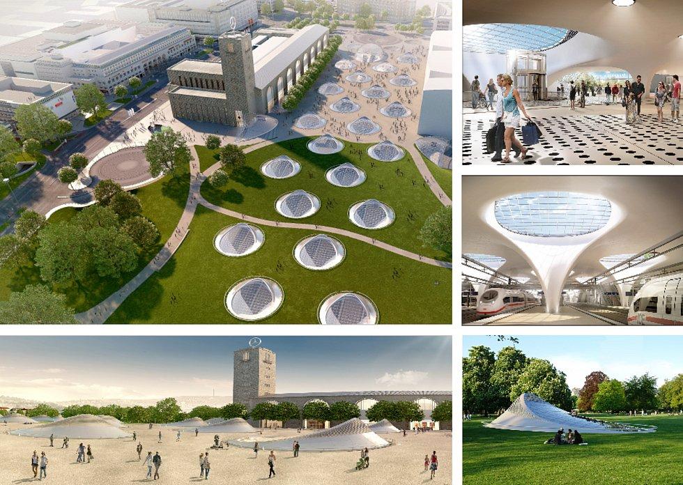 ingenhoven architects, Architektonická kancelář Burian-Křivinka, architekti Koleček-Jura (Düsseldorf – Brno): Stuttgart hlavní nádraží, Německo. Vizualizace.