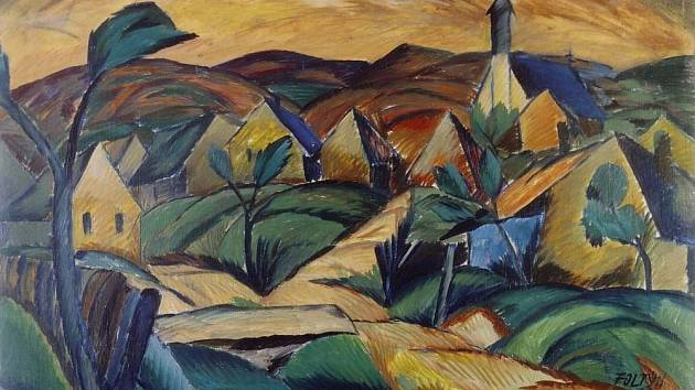 Obraz ukrajinského města Mukačevo z roku 1922.