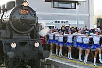 Nádraží v Židlochovicích - Mažoretky vystoupily 8. prosince 2019 během slavnostního otevření vlakového terminálu v Židlochovicích u Brna.